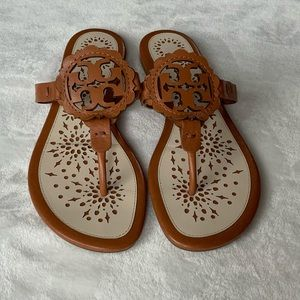 Tory Burch Miller Scallop Leather Thong Sandals